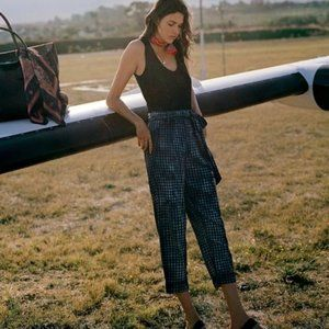 ANTHROPOLOGIE Maeve Bleached Gingham Pants 4 NWT